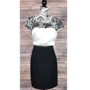 H&M dress 14 lace colorblock floral embroidered